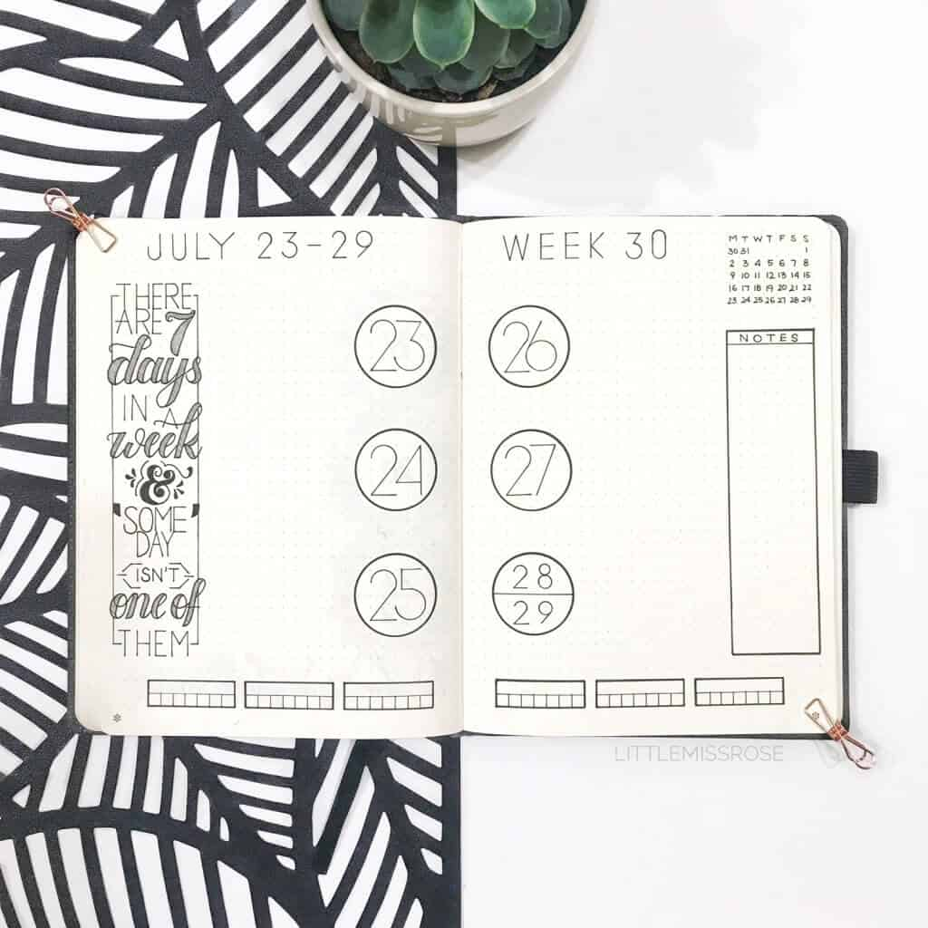 Weekly bullet journal ideas and spreads. One design in multiple renditions.