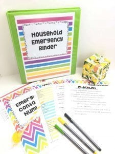 Digital Download of a printable household emergency binder preview with  a binder and pens.