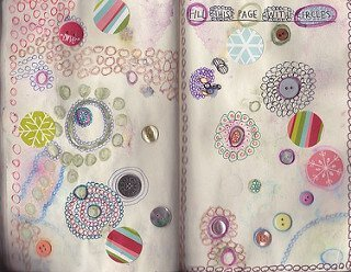 Prompt journaling with Wreck This Journal. A page all about circles.