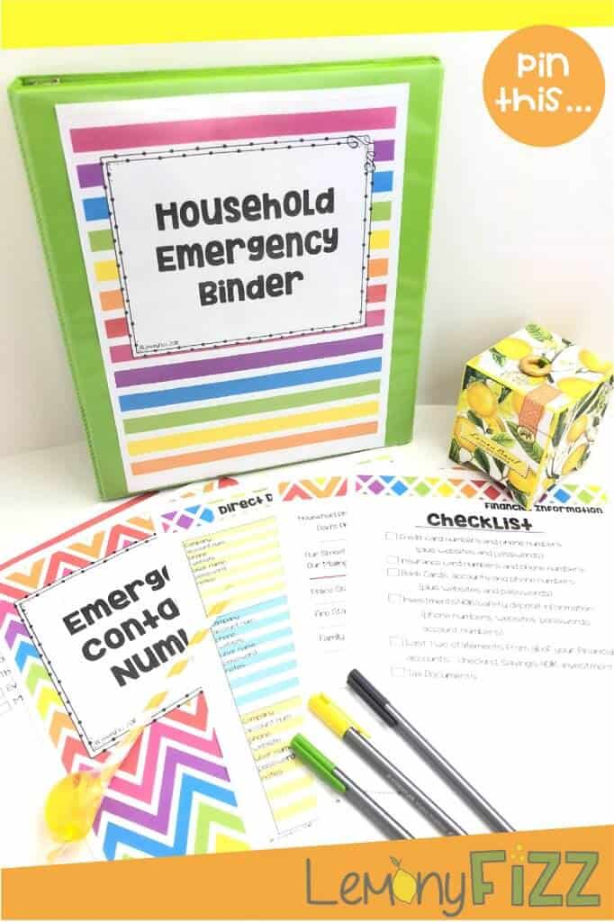 Create your own family household emergency binder with this printable. Checklists, title pages, and fill in the blank forms are all included in this digital download.