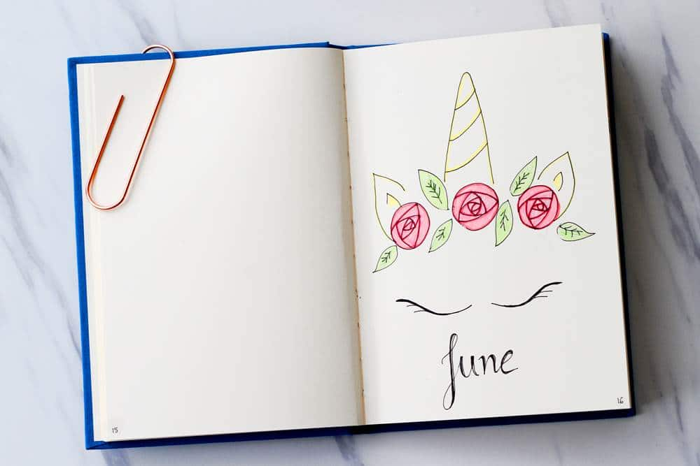 Get great bullet journal ideas like this unicorn doodle for June.