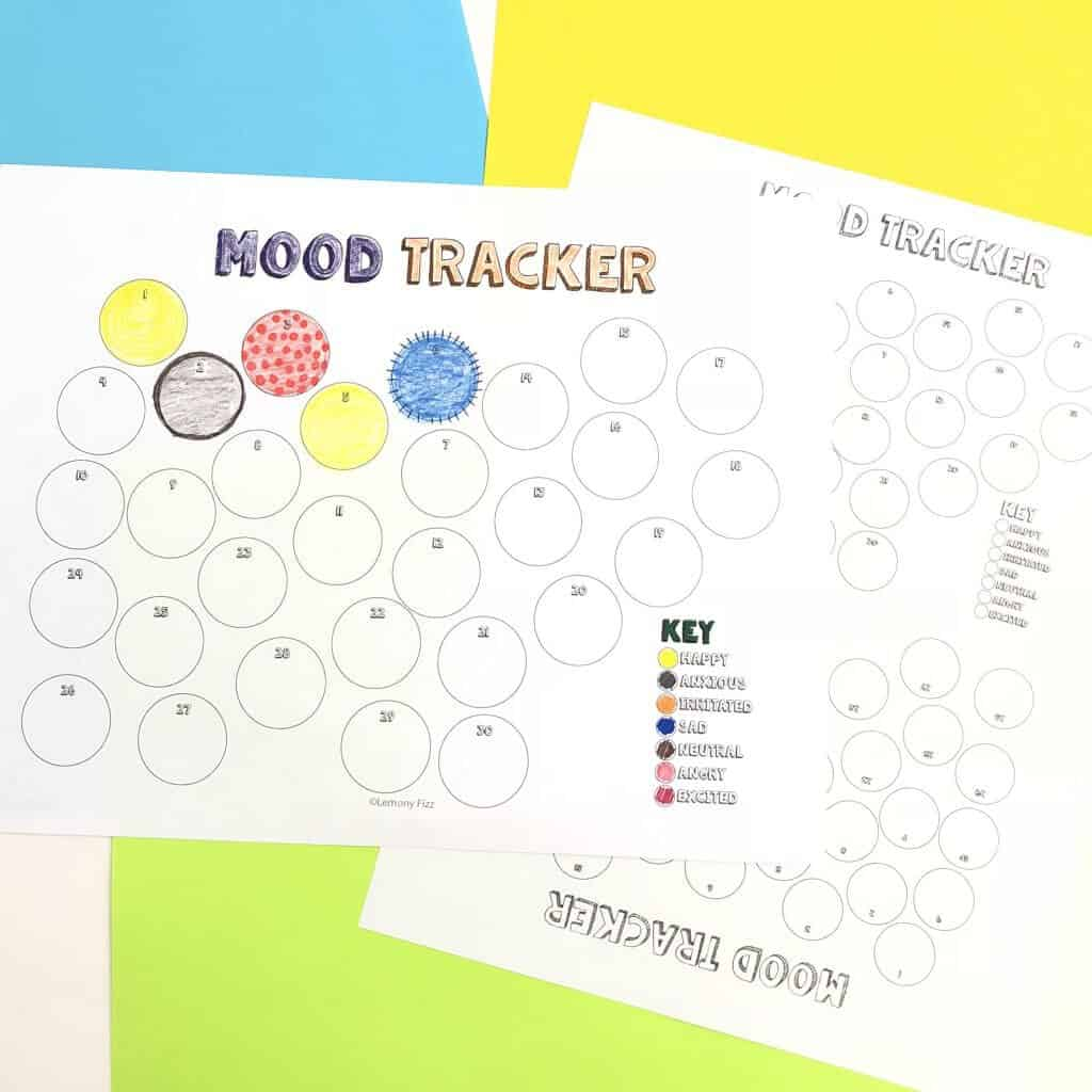 Mood trackers circles and a colored key.