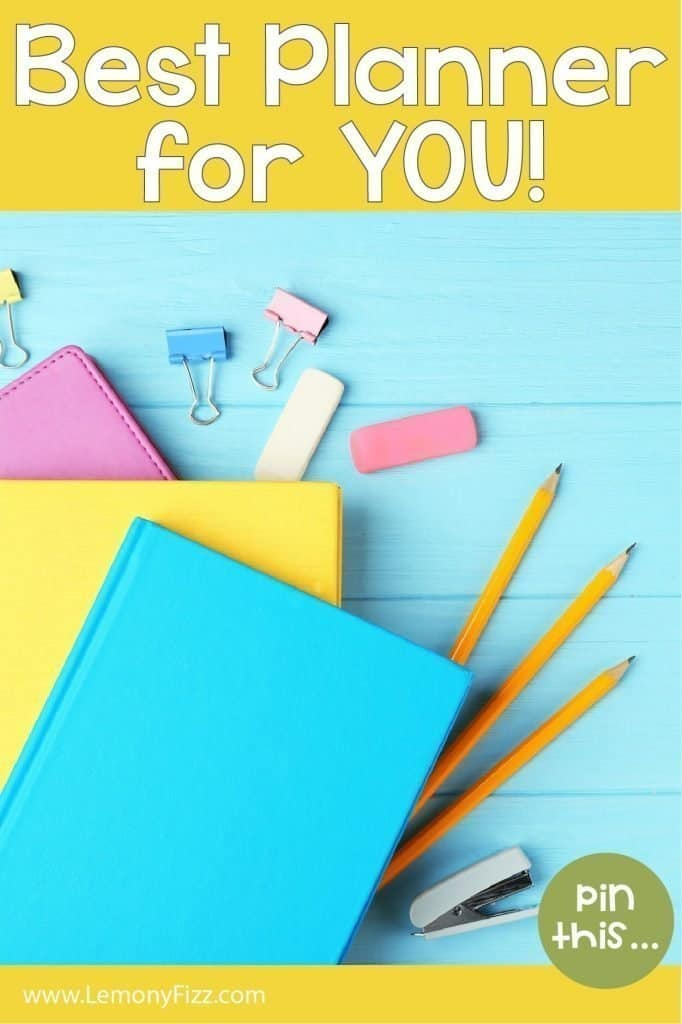 Blue, yellow, and pink planners with office supplies and pencils.