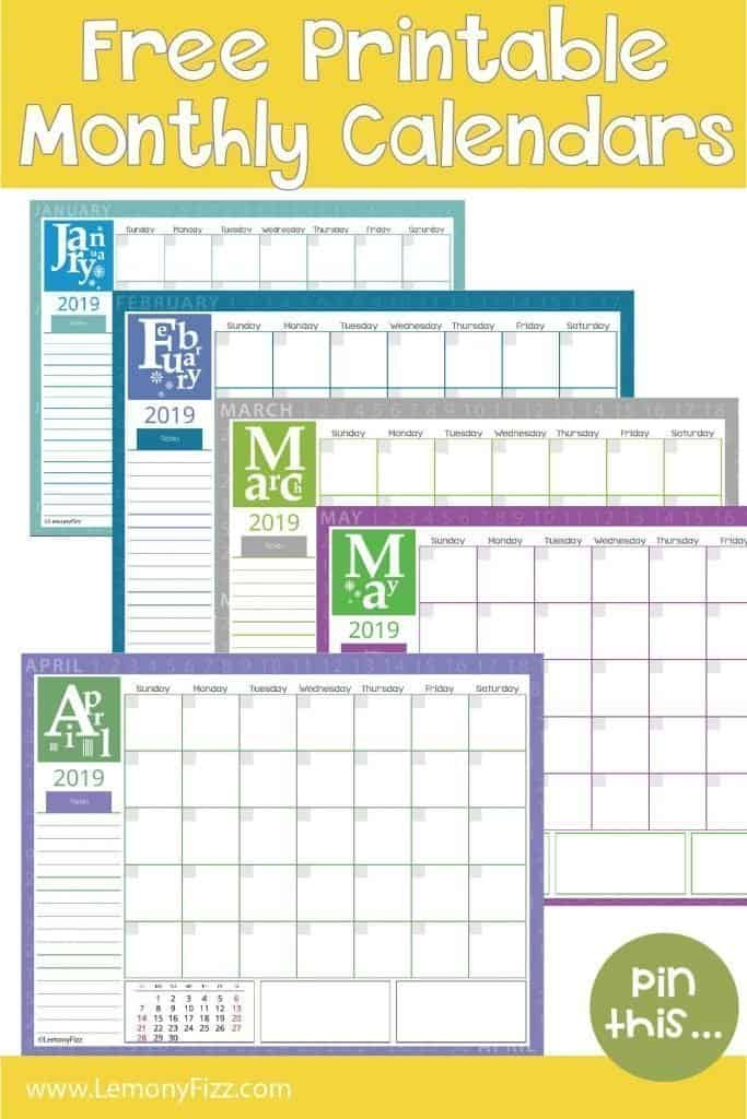 Would you like free monthly calendar printable for 2019? Get your free download and start your planning for the New Year. @lemonyfizzprintables #printables #calendar